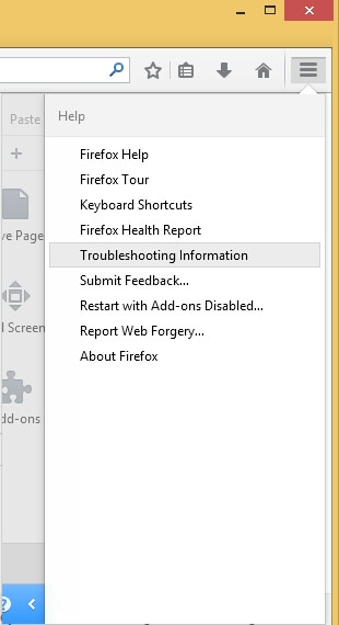 Firefox without the menu bar - Help - Troubleshooting Information
