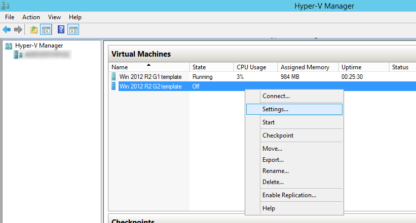 Hyper-V Manager VM Settings