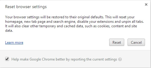 Reset browser setting