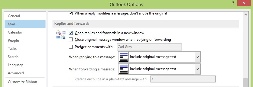 Outlook 2013 - File - Options - Mail - Replies and forwards - Open replies and forwards in a new window