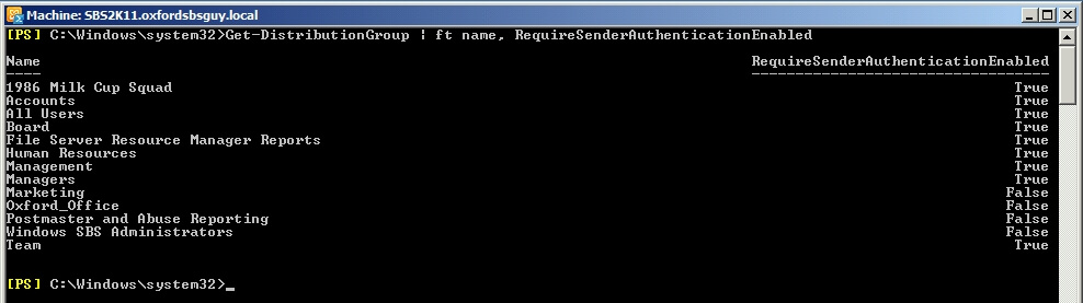 Exchange PowerShell Get-DistributionGroup ft name requiresenderauthenticationenabled