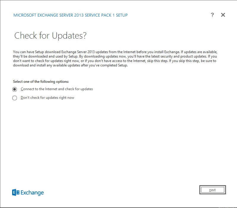Exchange 2013 Setup - Check for Updates