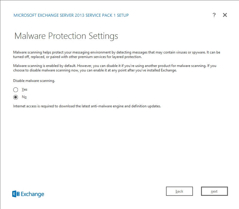 Exchange 2013 Setup - Malware Protection Settings