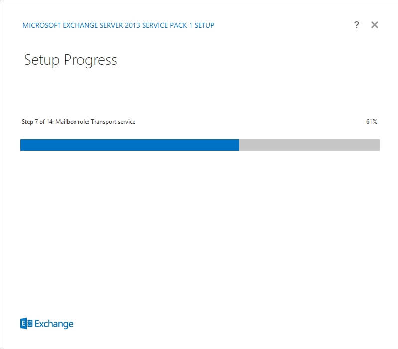 Exchange 2013 Setup - Setu Progress