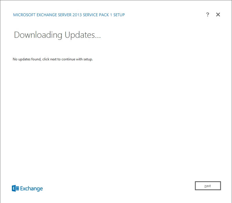 Exchange 2013 Setup - No updates found