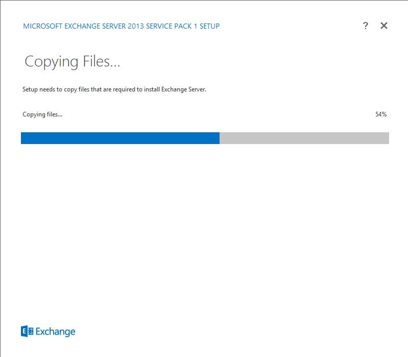 Exchange 2013 Setup - Copying Files