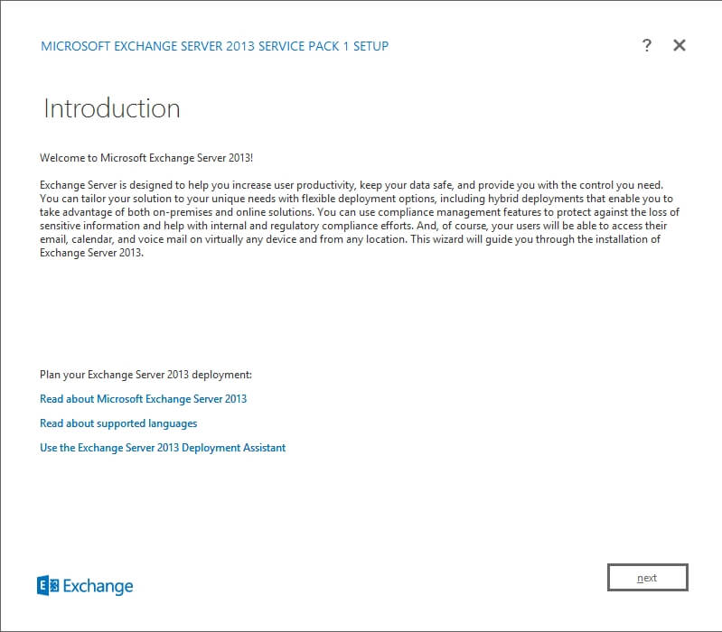 Exchange 2013 Setup - Introduction