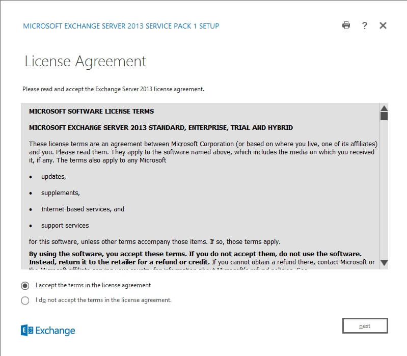 Exchange 2013 Setup - License Agreement