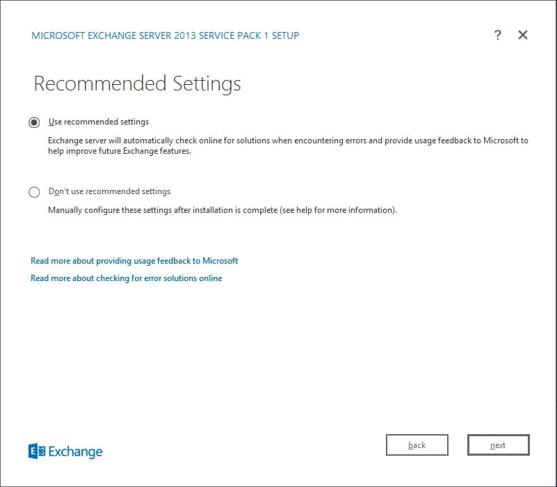 Exchange 2013 Setup - Recommended Settings
