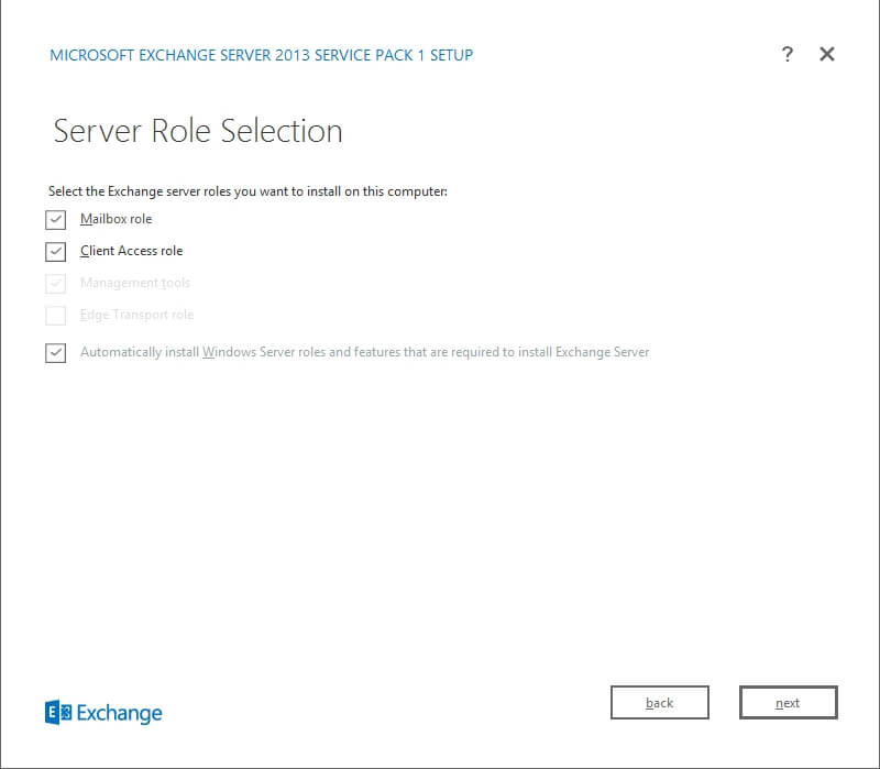Exchange 2013 Setup - Server Role Selection