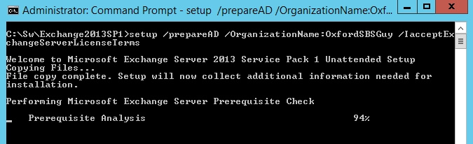 exchange 2013 sp1 setup preparead organizationname oxfordsbsguy iacceptexchangeserverlicenseterms 1