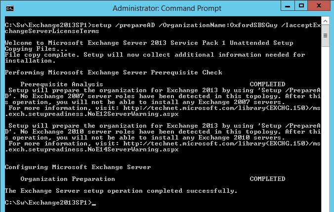exchange 2013 sp1 setup preparead organizationname oxfordsbsguy iacceptexchangeserverlicenseterms 3