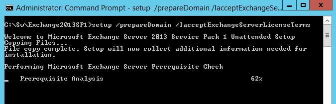 exchange 2013 sp1 setup preparedomain iacceptexchangeserverlicenseterms 1