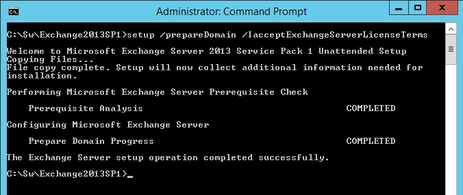 exchange 2013 sp1 setup preparedomain iacceptexchangeserverlicenseterms 2