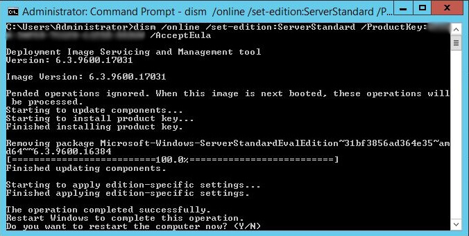 Administrative Command Prompt - dism online set-edition productkey accepteula - completed