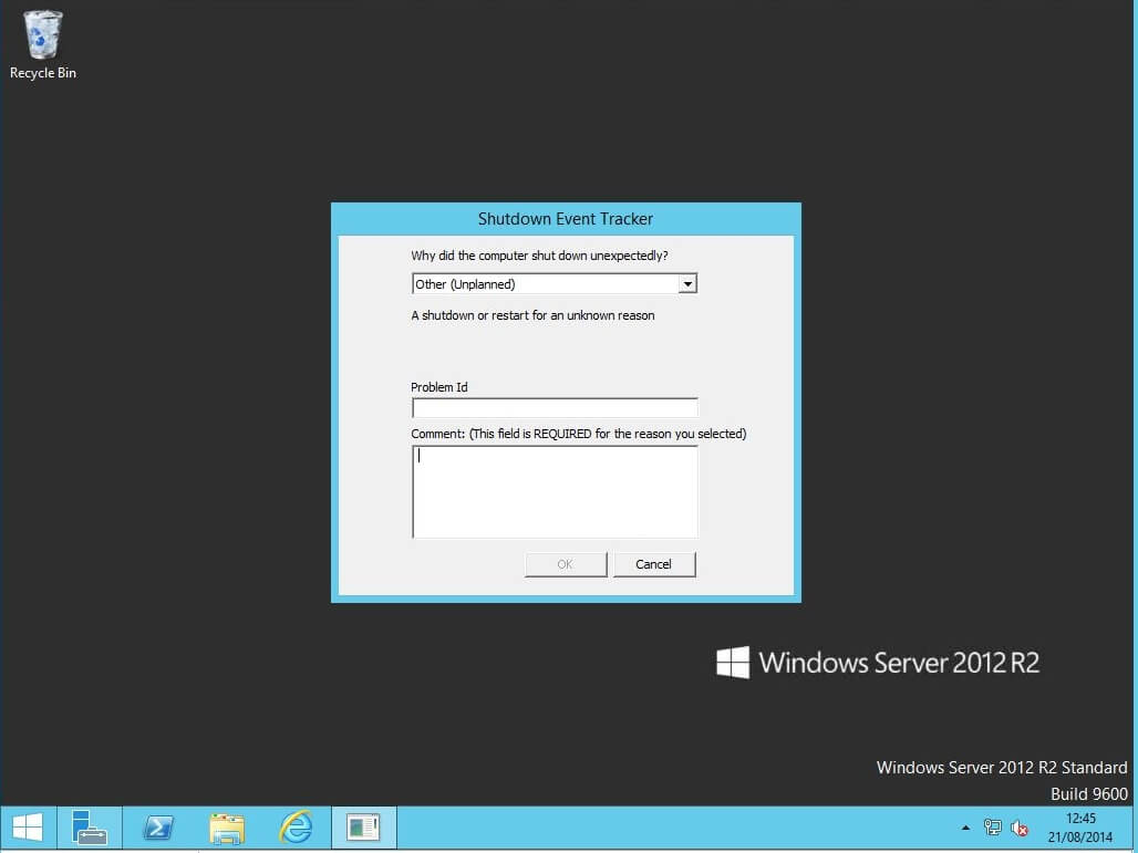 Windows Server 2012 R2 Standard unexpected shutdown message