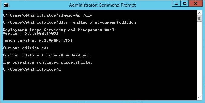 Administrative Command Prompt - dism online get-currentedition