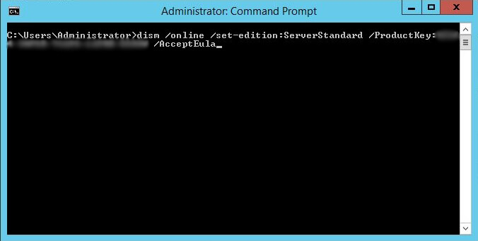 Administrative Command Prompt - 9. dism online set-edition productkey accepteula