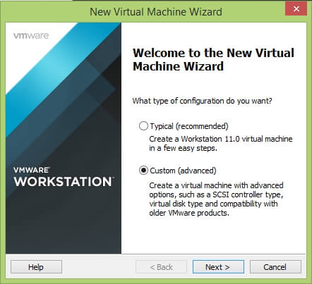 VMware Workstation New Virtual Machine Wizard - Welcome