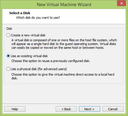 VMware Workstation New Virtual Machine Wizard - Select a Disk