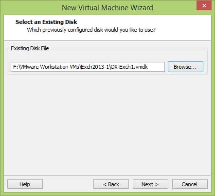 VMware Workstation New Virtual Machine Wizard - Select an Existing Disk
