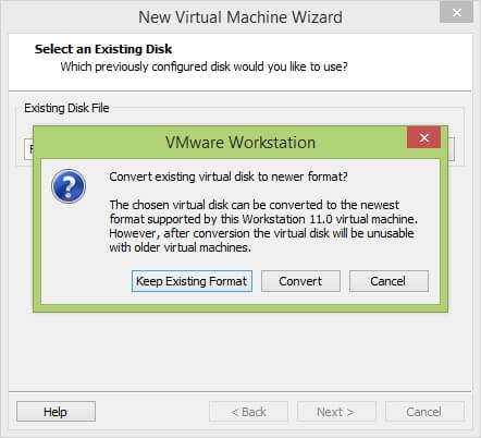 VMware Workstation New Virtual Machine Wizard - Convert existing disk to new format