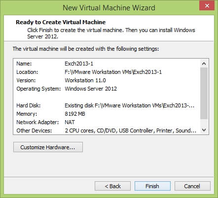 VMware Workstation New Virtual Machine Wizard - Ready to Create Virtual Machine