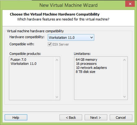 VMware Workstation New Virtual Machine Wizard - Choose Hardware Compatibility
