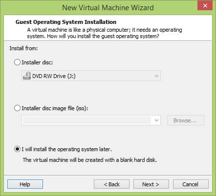 VMware Workstation New Virtual Machine Wizard - Guest OS Installation