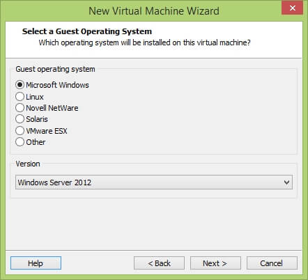 VMware Workstation New Virtual Machine Wizard - Select Guest OS