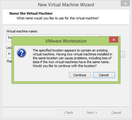 VMware Workstation New Virtual Machine Wizard - Name the Virtual Machine Warning