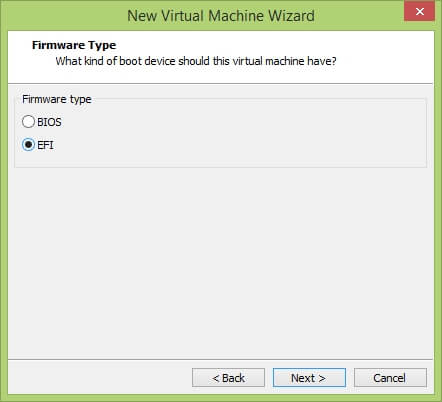 VMware Workstation New Virtual Machine Wizard - Firmware Type
