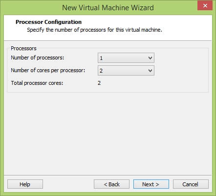 VMware Workstation New Virtual Machine Wizard - Processor Configuration