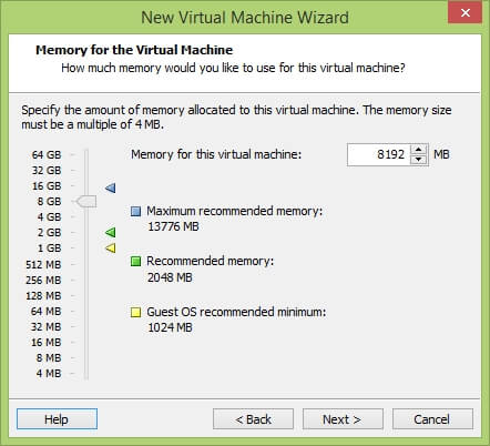 VMware Workstation New Virtual Machine Wizard - Memory for the Virtual Machine