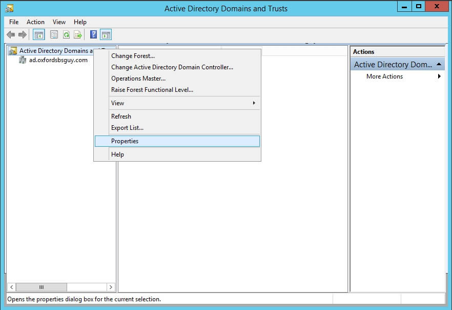 Active Directory Domains and Trusts - Properties