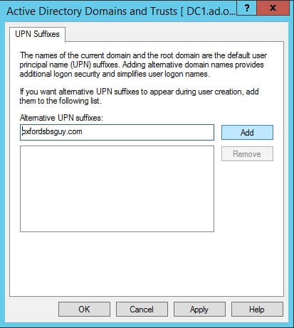 Active Directory Domains and Trusts - UPN Suffixes