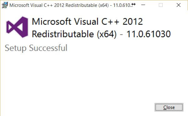 Visual C plus plus redistributable 2012 update 4 - success
