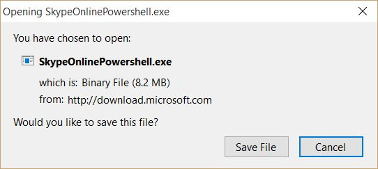 Download Skype for Business Online Windows PowerShell Module - Save File