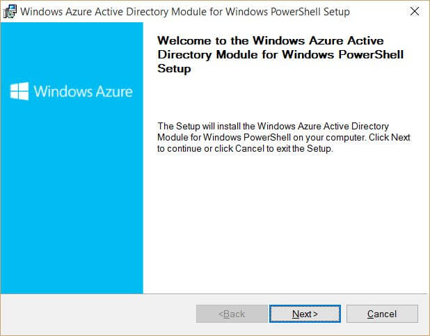 Install WIndows Azure Active Directory Module for Windows PowerSHell