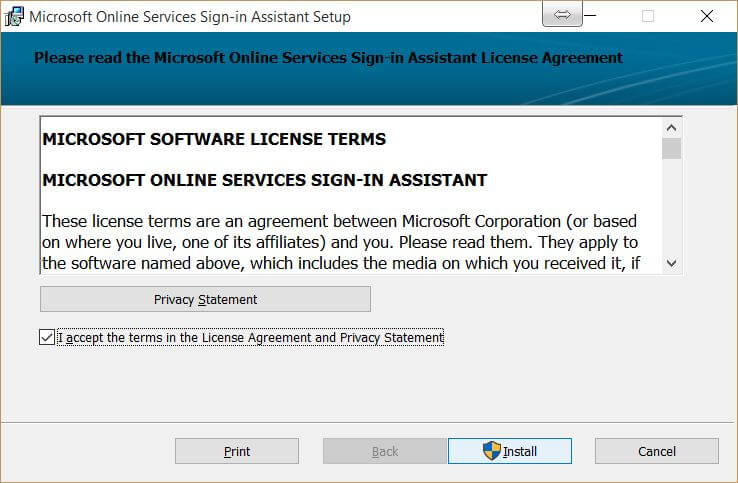 Microsoft Online Services Sign-In Assistant License Agreement