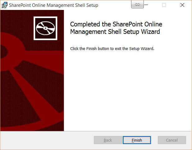 SharePoint Online Management Shell Finished Setup