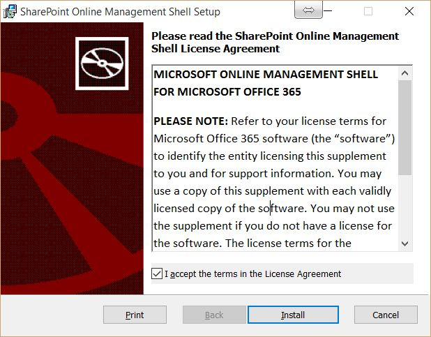 SharePoint Online Management Shell License Agreement