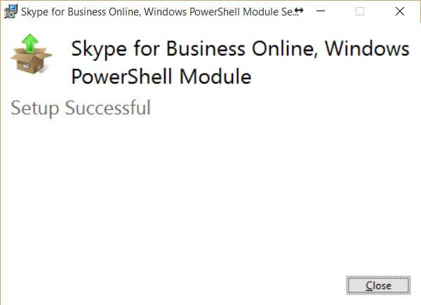 Skype for Business Online Windows PowerShell Module - Install Successful
