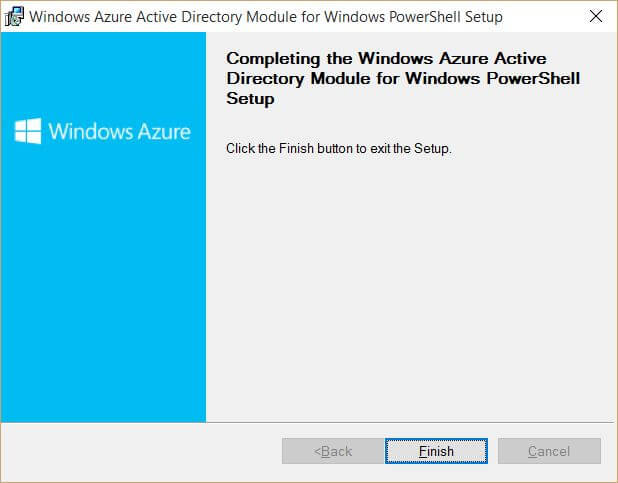 Windows Azure Active Directory Module for Windows PowerShell Finished Setup