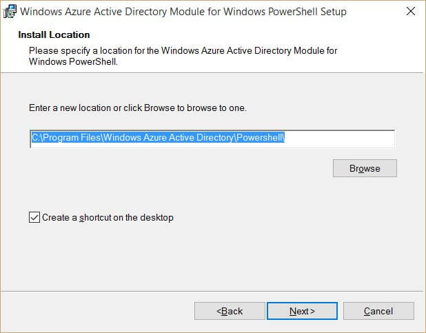 Windows Azure Active Directory Module for Windows PowerShell INstall Location