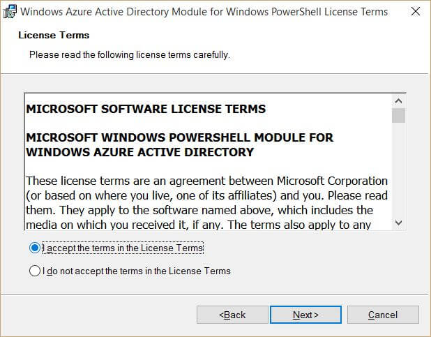 Windows Azure Active Directory Module for Windows PowerShell License Terms