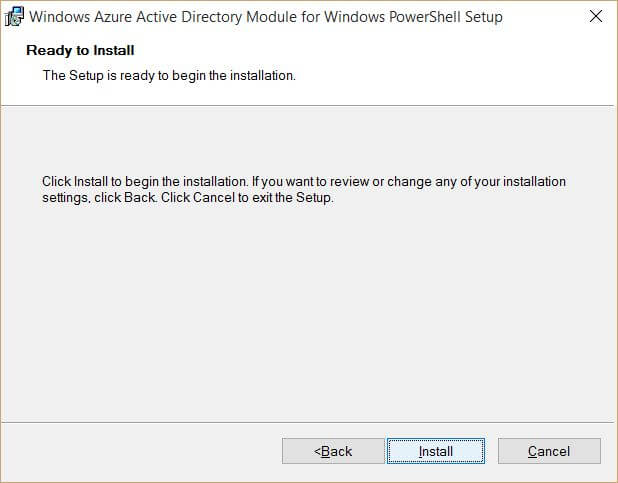 Windows Azure Active Directory Module for Windows PowerShell Ready to Install