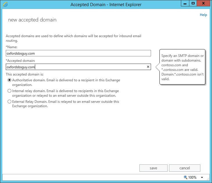Exchange 2013 - Accepted Domain - new accepted domain