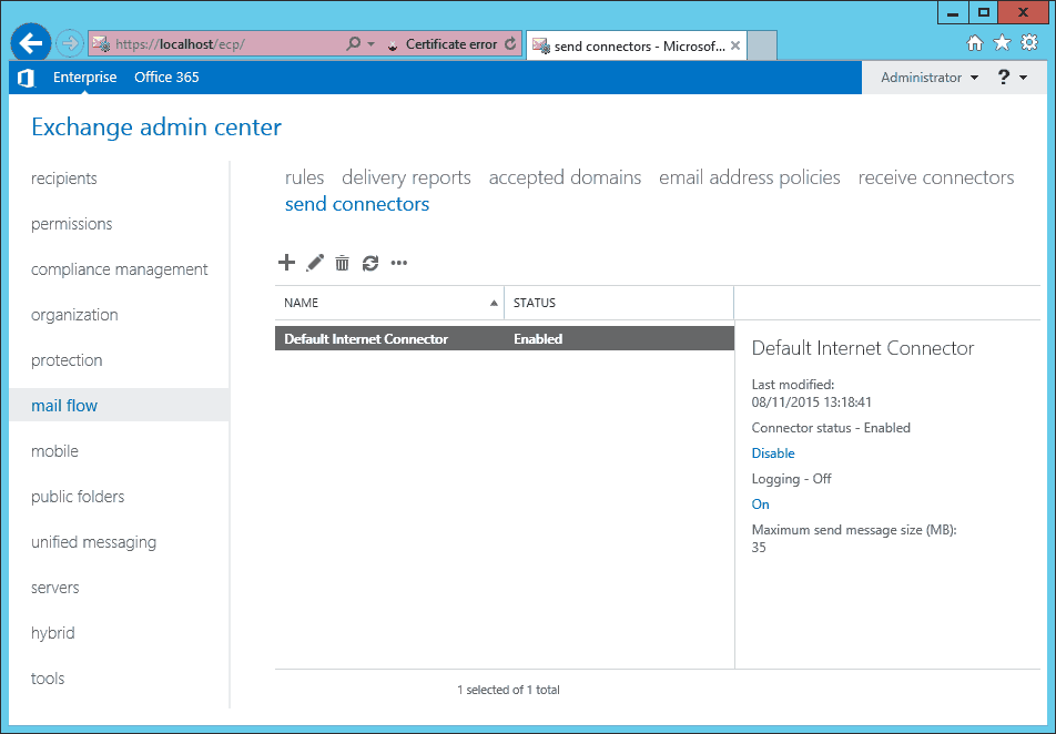 Exchange 2013 - EAC - mail flow - send connectors - default internet connector
