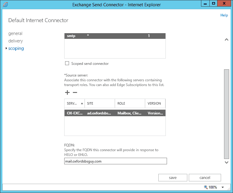 Exchange 2013 - EAC - mail flow - send connectors - scoping - fqdn